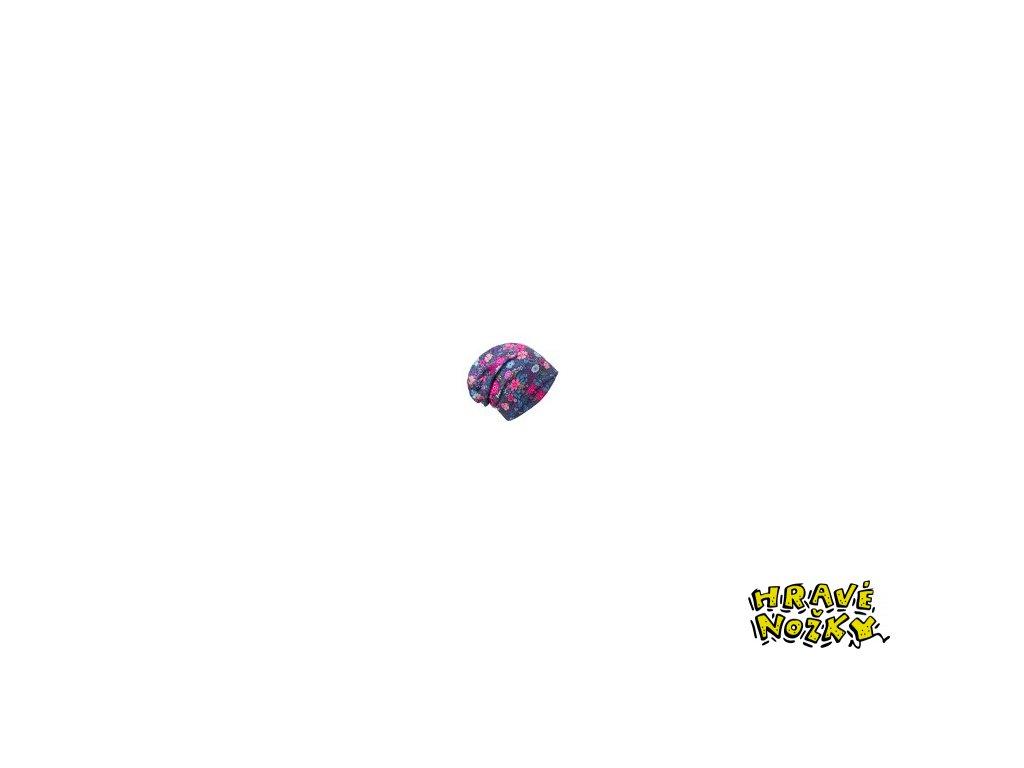 9294 3 unuo detska cepice fleecova spadena kvetinky