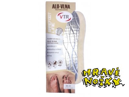 Vložky do bot Barefoot ALU-Vlna protiskluzová